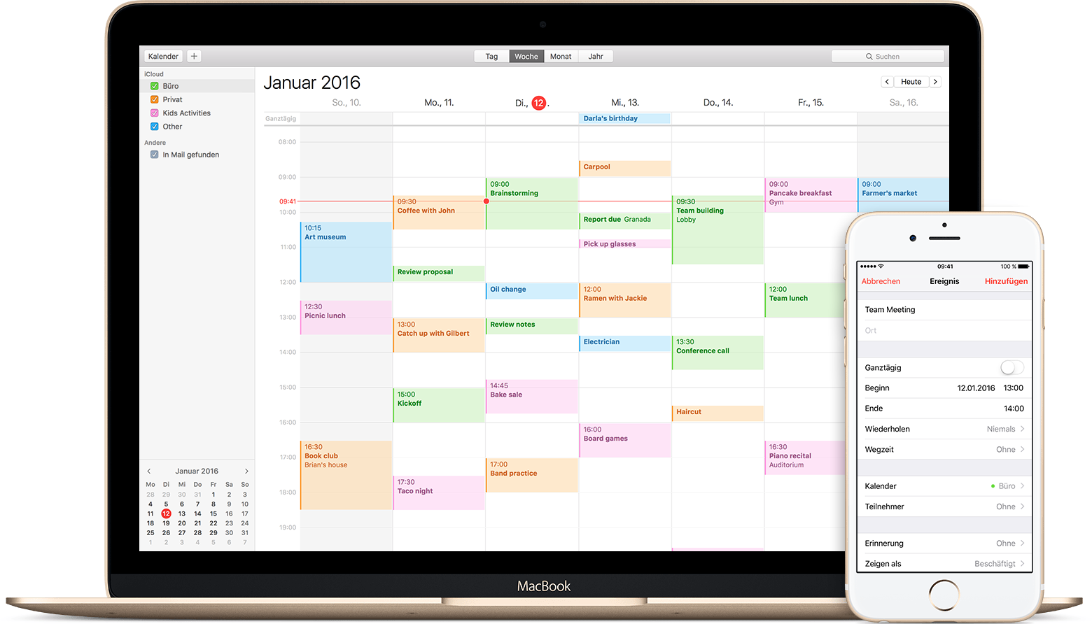 Den Kalender mit iCloud immer