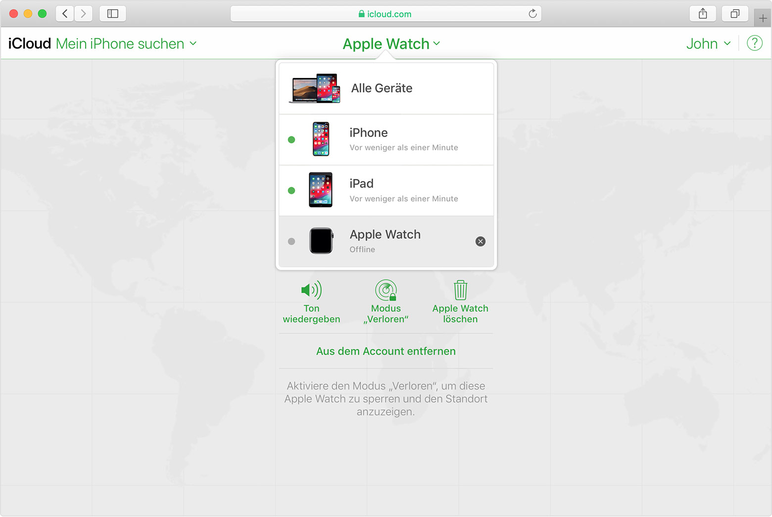 "iCloud ""Mein iPhone suchen"" zeigt Johns Apple Watch"