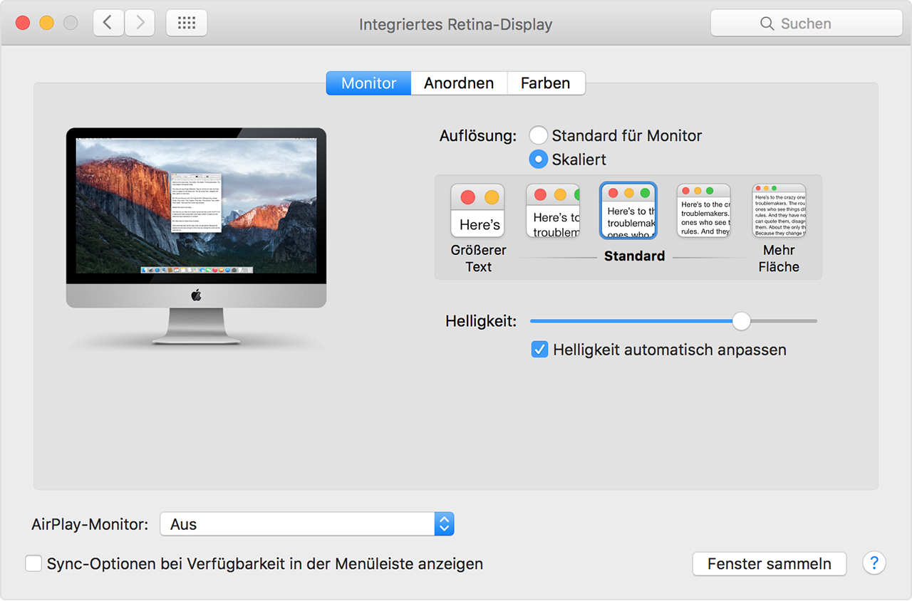 Retina-Display-Einstellungen (iMac)