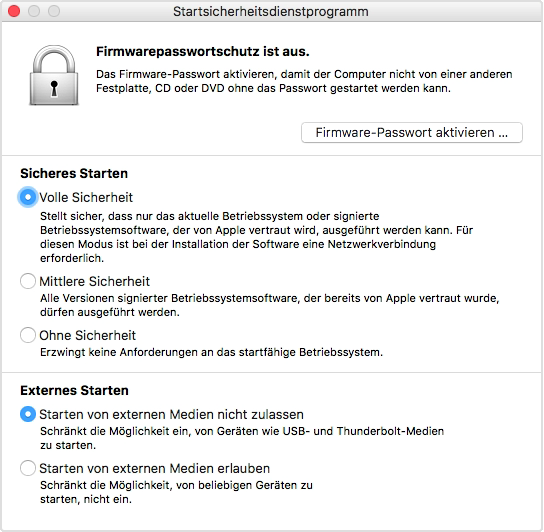 Startsicherheitsdienstprogramm auf Mac-Computern mit Apple T2 Security Chip