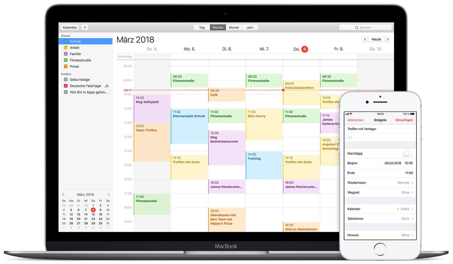 Den Kalender mit iCloud auf dem neuesten Stand halten Apple Support