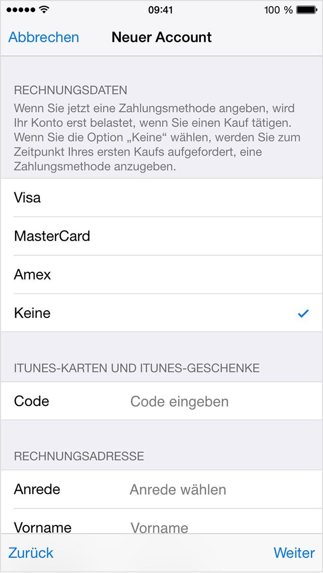 Apple Zahlungsmethode