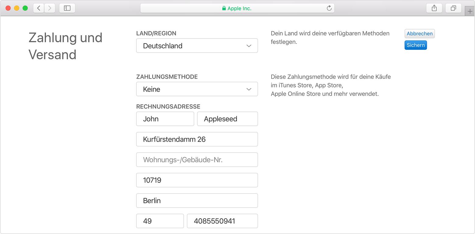 Apple Id Zahlungsdaten Andern Oder Entfernen Apple Support