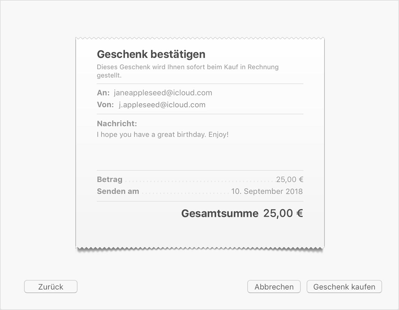 App Store Itunes Geschenke Per E Mail Versenden Apple Support
