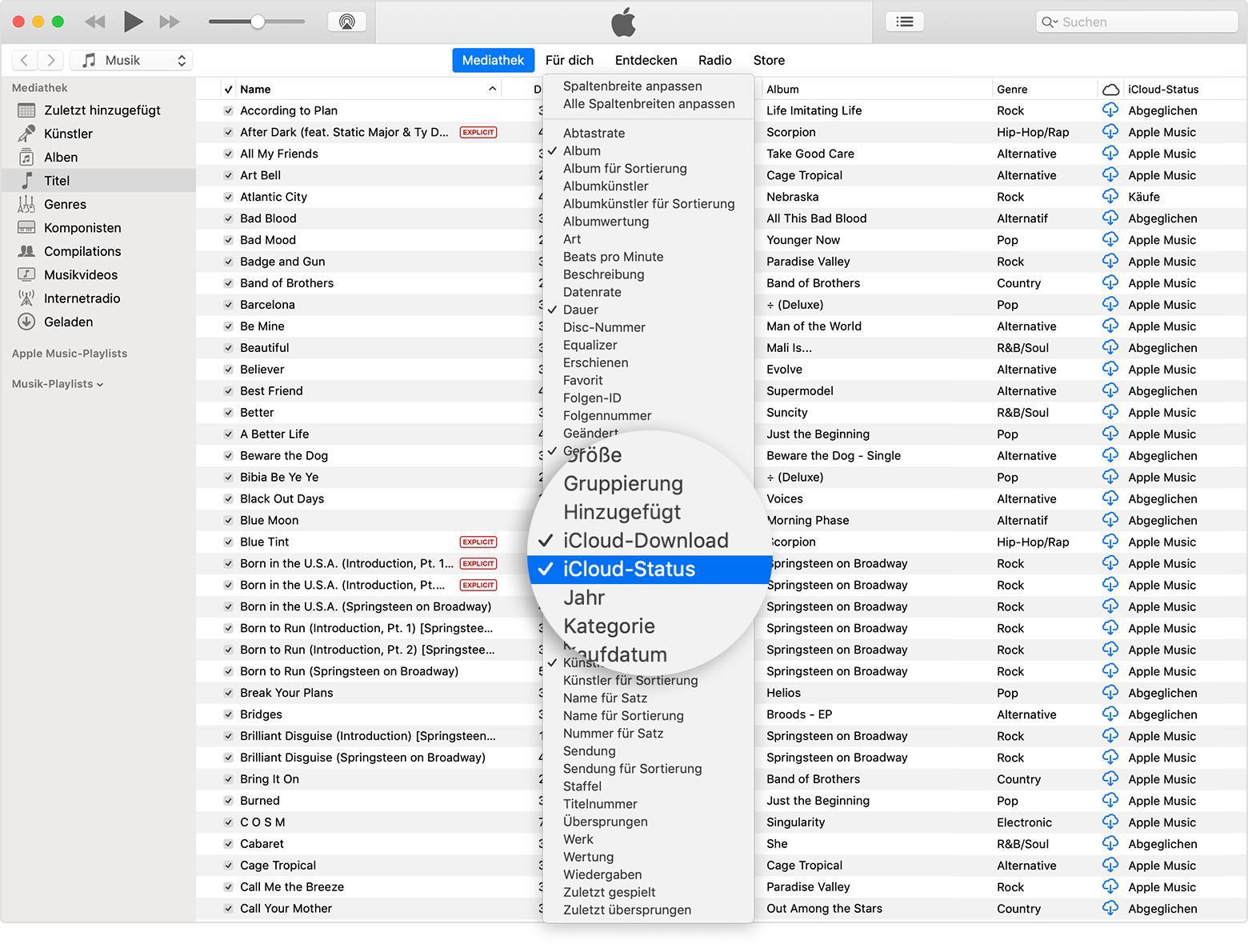 da35306929882 iTunes-Fenster mit der Mediathek; im Vordergrund wird das Menü