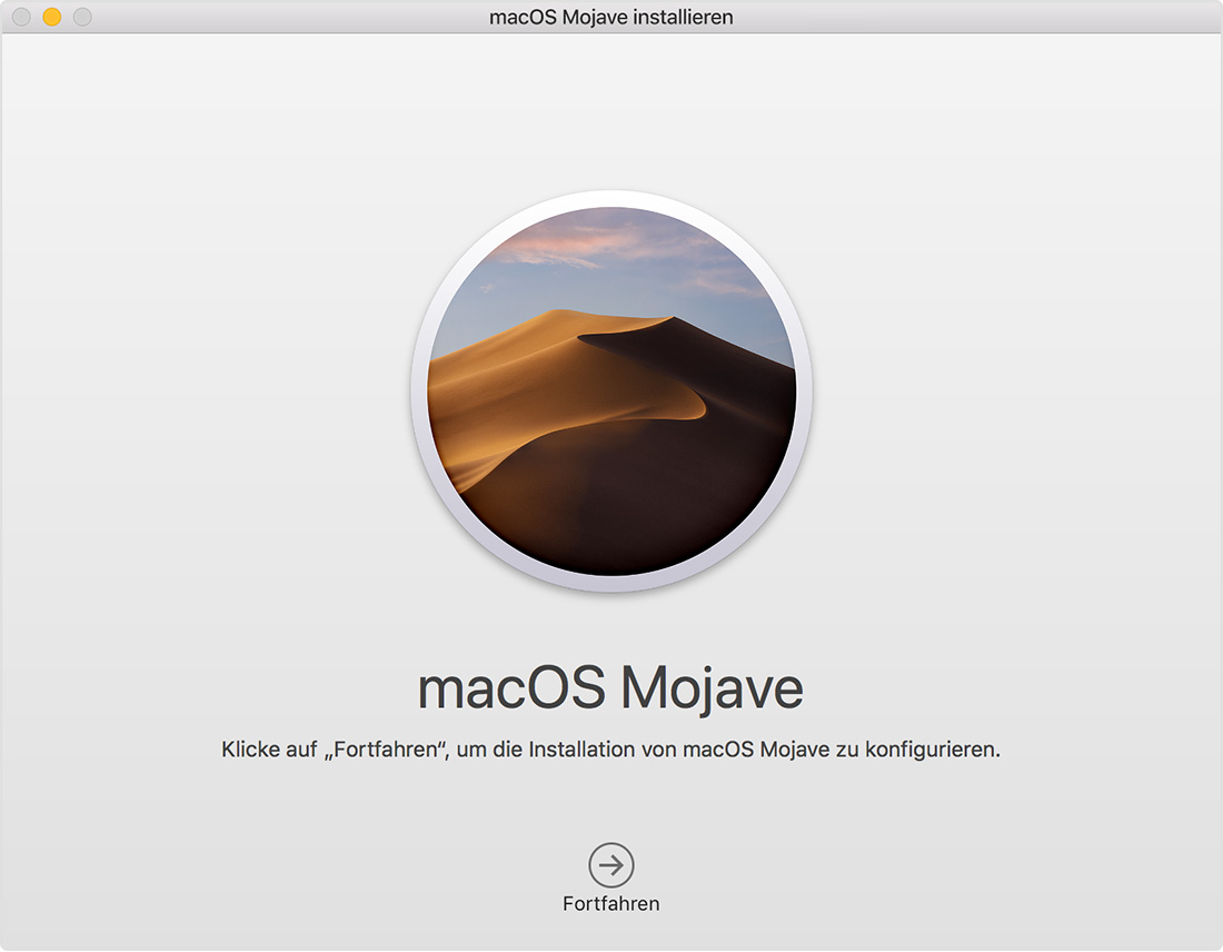 Installationsfenster für macOS