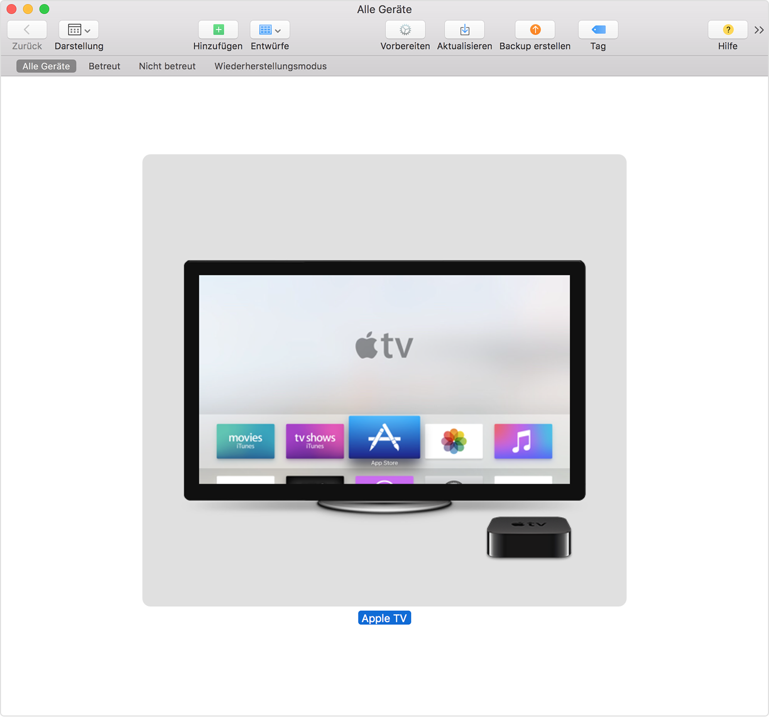 Apple TV per USB über Apple Configurator verbinden - Apple Support
