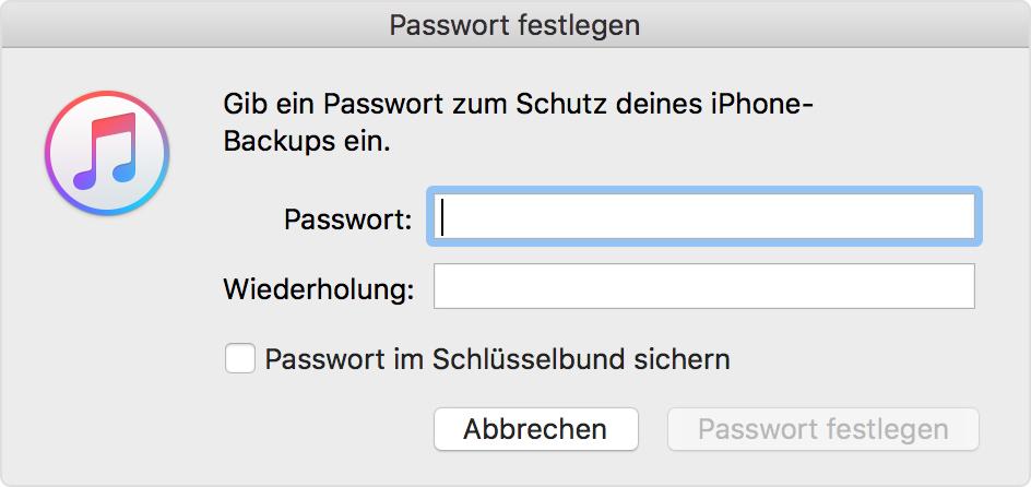 informationen zu verschl sselten backups in itunes apple support. Black Bedroom Furniture Sets. Home Design Ideas