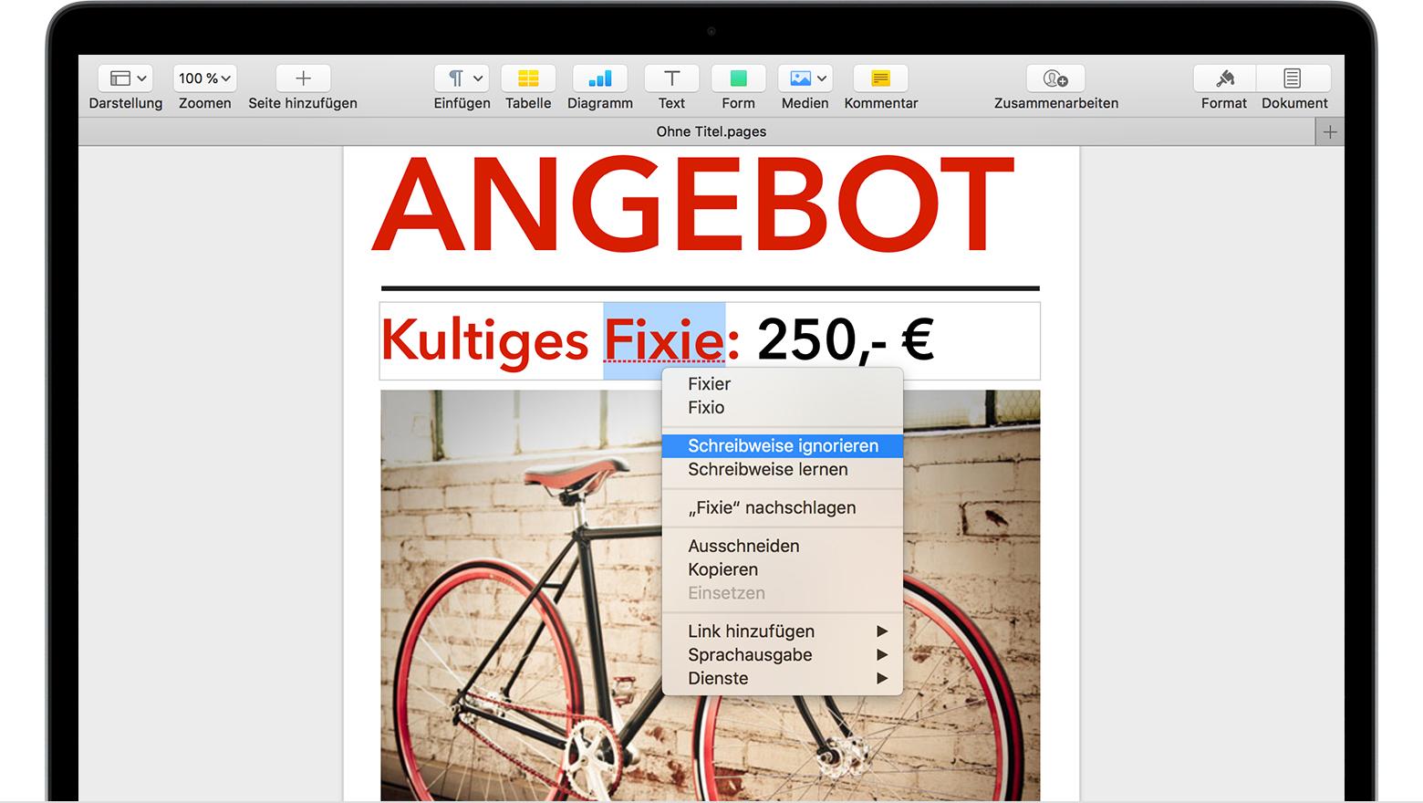 Automatische Korrektur und Textersetzungen für Pages, Numbers oder ...