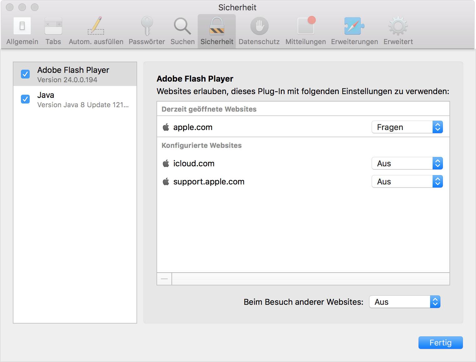 Verwendung von Internet Plug-Ins in Safari für Mac - Apple Support
