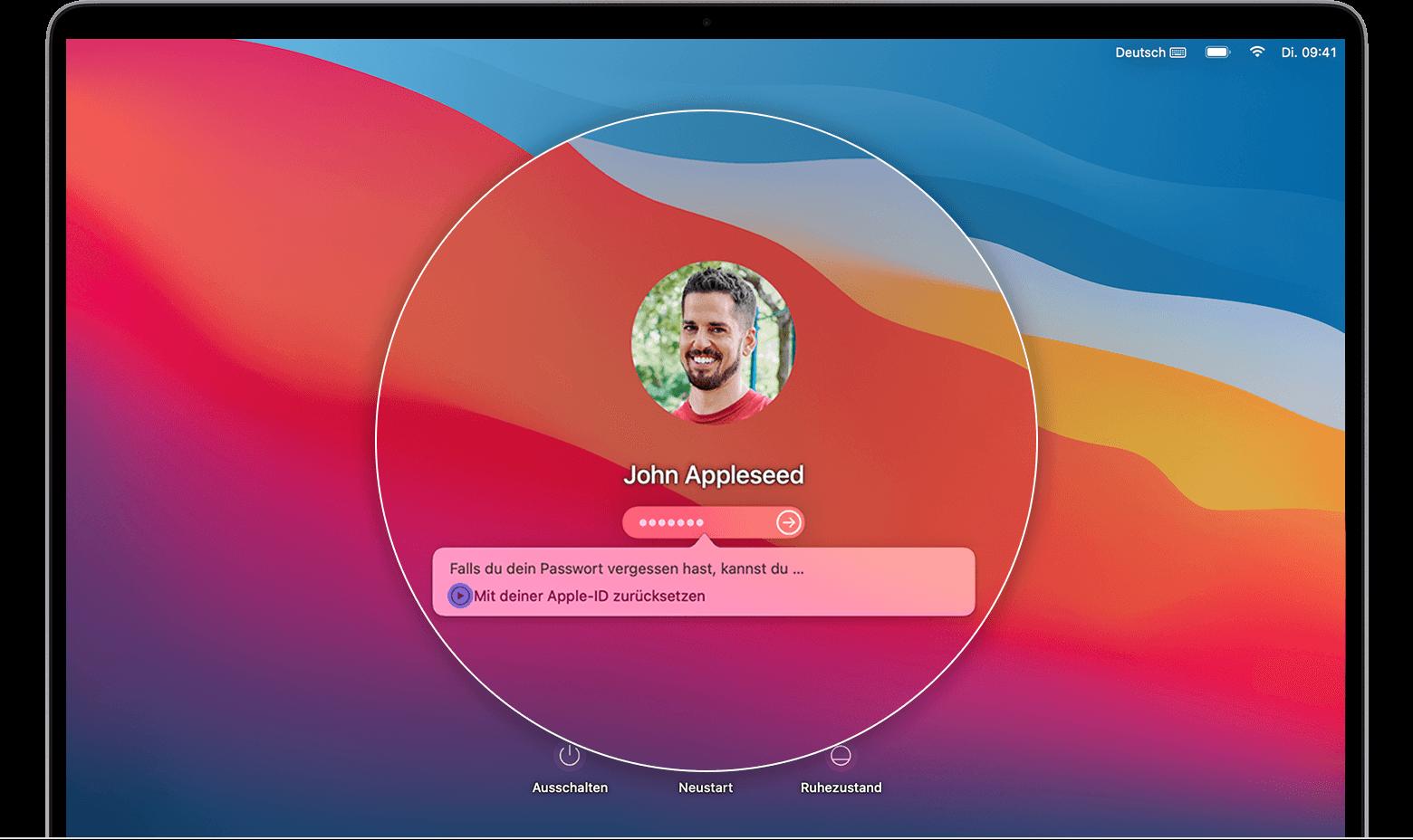 Wenn du dein Mac Anmeldepasswort vergessen hast   Apple Support DE