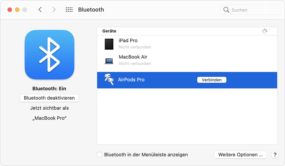 AirPods mit einem Mac und anderen Bluetooth Geräten einrichten ...