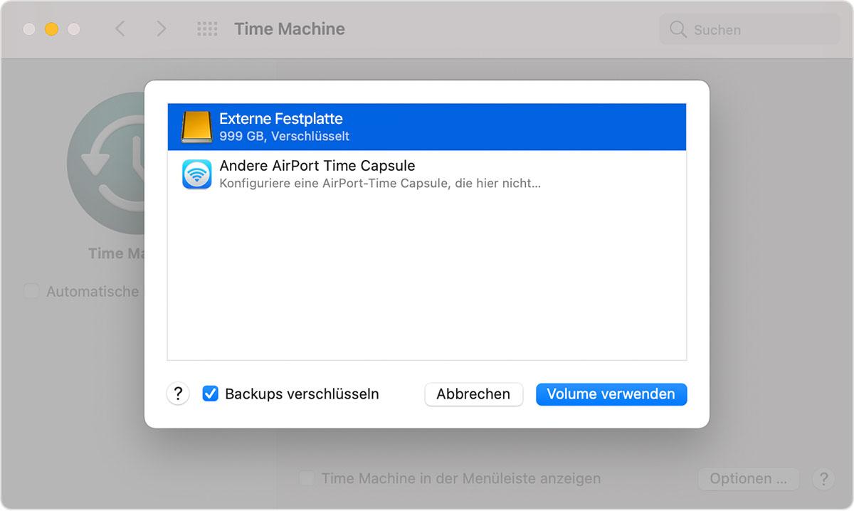 """macOS-Systemeinstellungen, TimeMachine-Fenster, Auswahl """"Backup-Volume auswählen"""""""