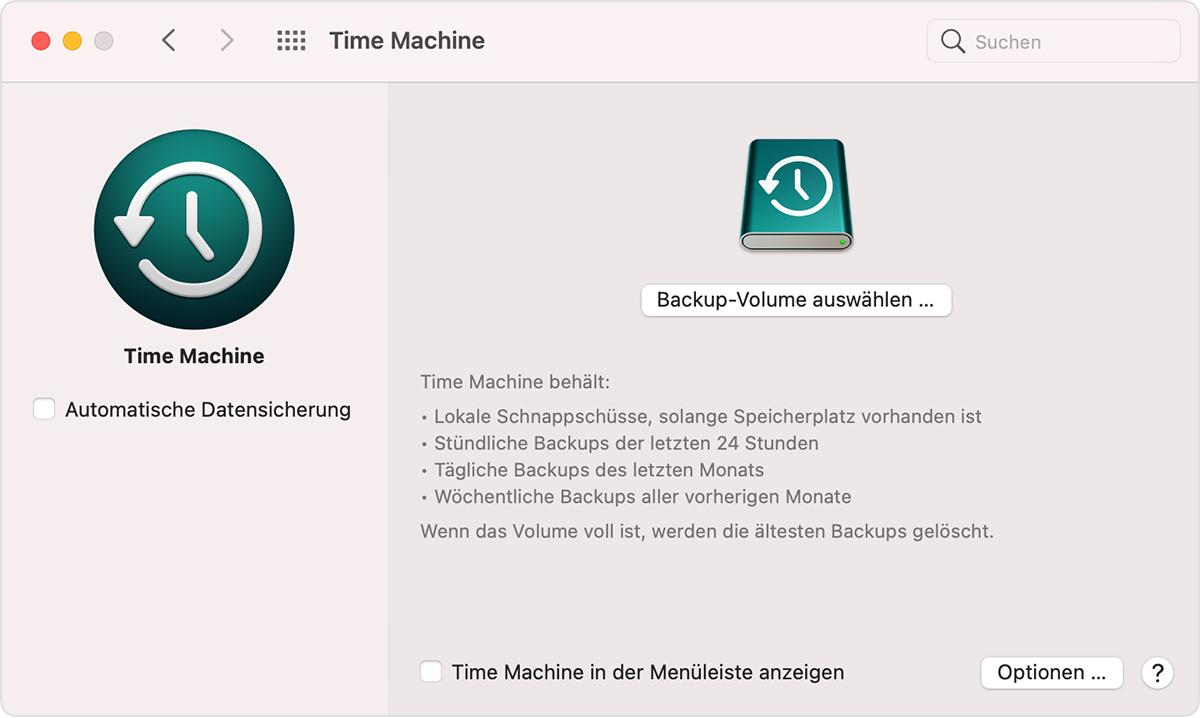 macOS-Systemeinstellungen, TimeMachine-Fenster