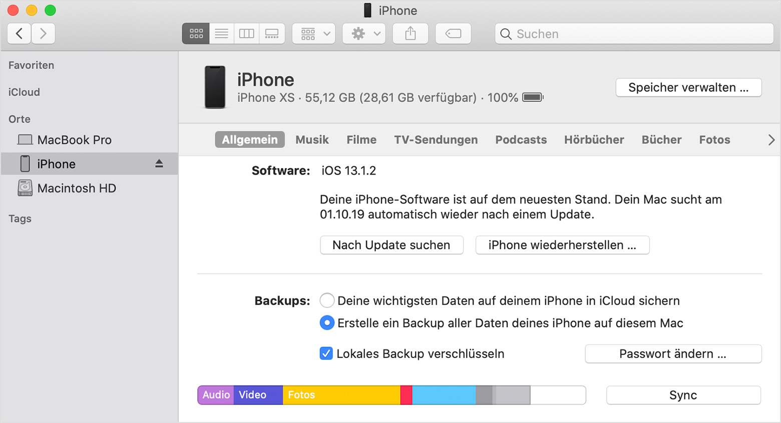iphone verschlüsseltes backup löschen