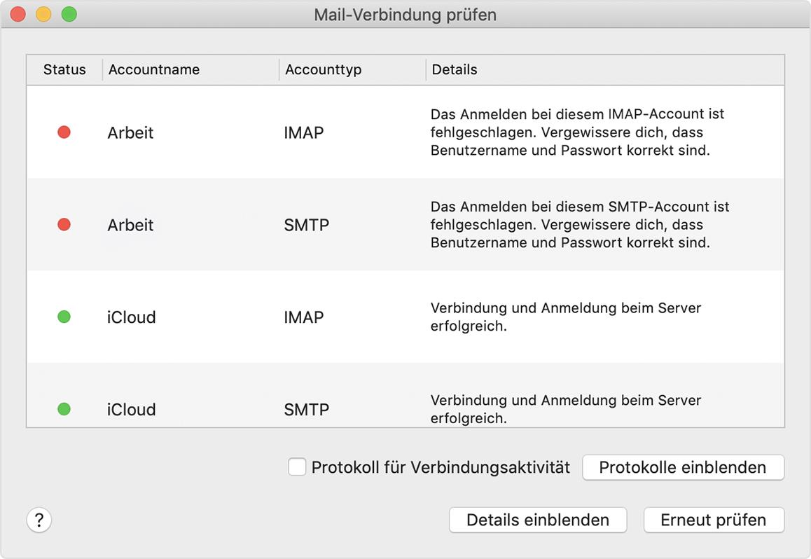 Mail Verbindung Prüfen Verwenden Apple Support