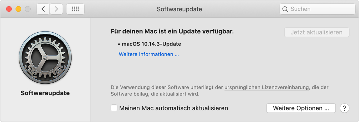 Softwareupdate-Einstellungen