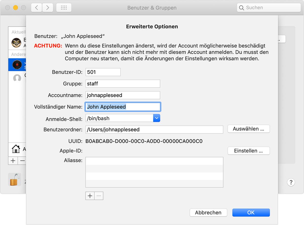 Den Namen Ihres Macos Benutzeraccounts Und Benutzerordners