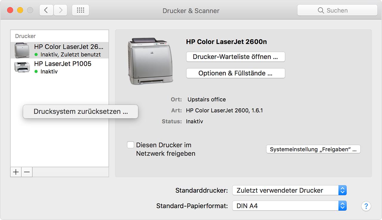 druckertreiber installieren mac os x