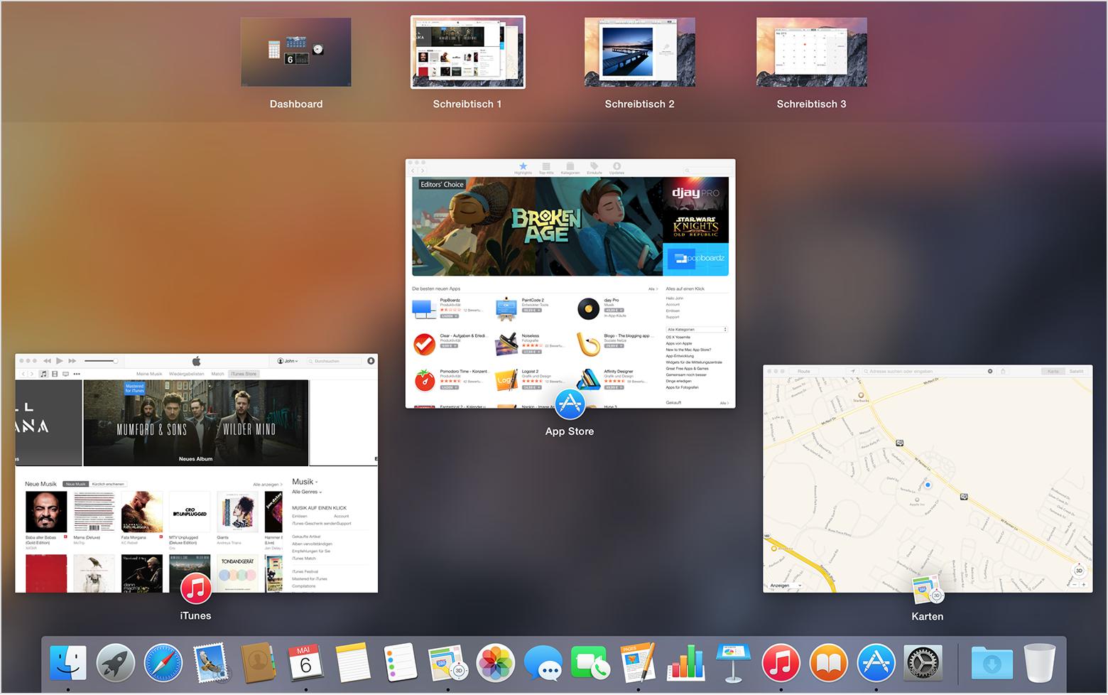 Mac grundlagen mit mission control zwischen apps und for Schreibtisch yosemite