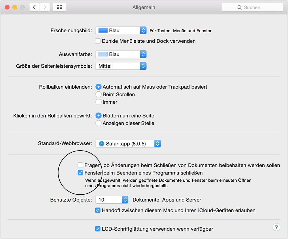 fenster apps und dokumente automatisch auf dem mac erneut ffnen apple support. Black Bedroom Furniture Sets. Home Design Ideas