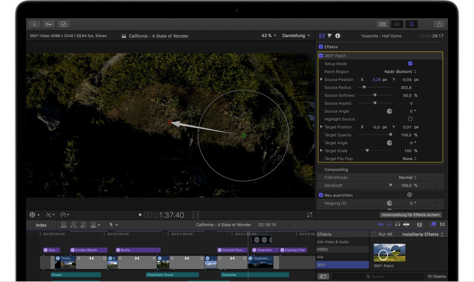 360°-Videos in Final Cut Pro X 10.4 bearbeiten - Apple Support