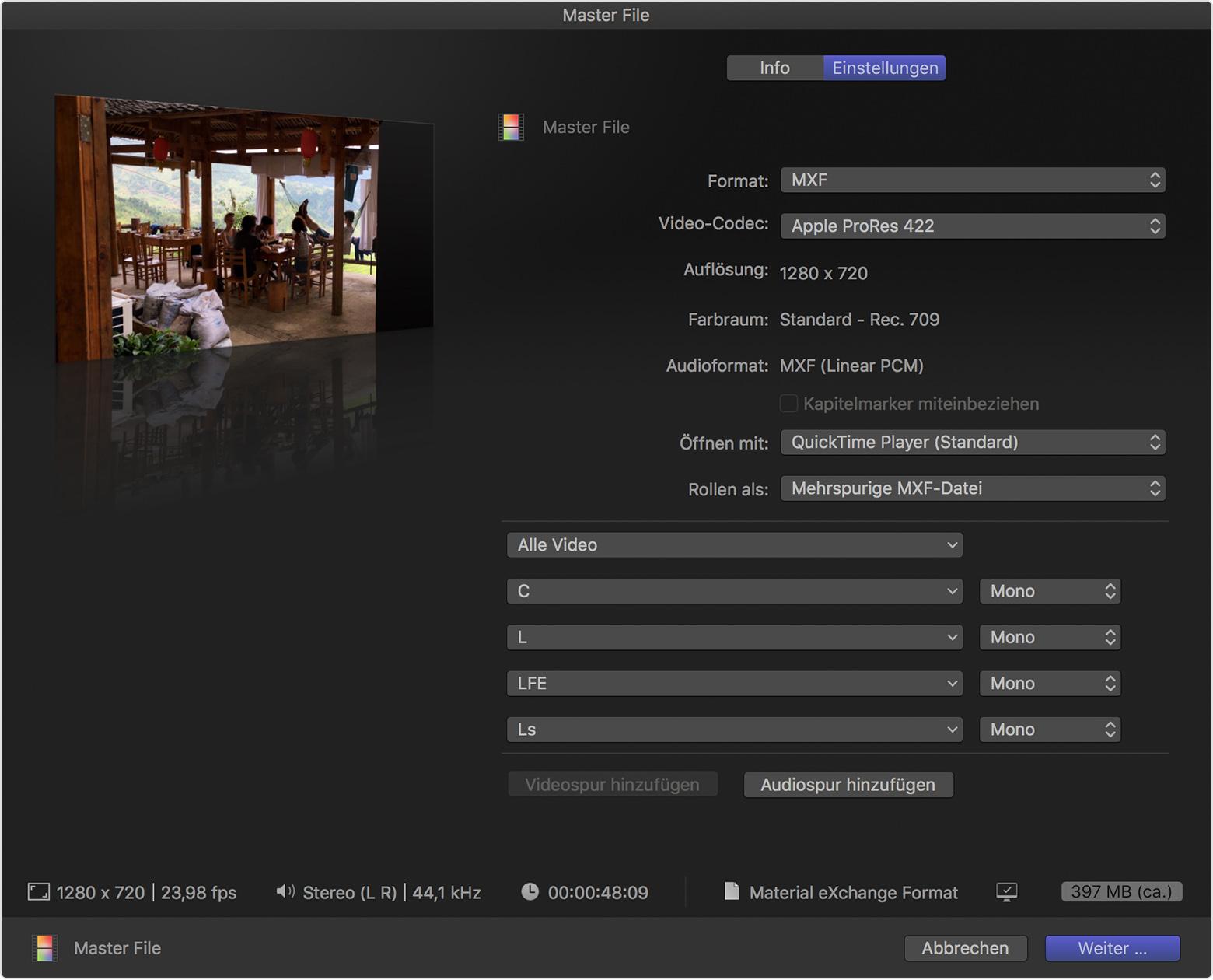 MXF-Datei mit mehreren Kanälen in Final Cut Pro X erstellen - Apple ...