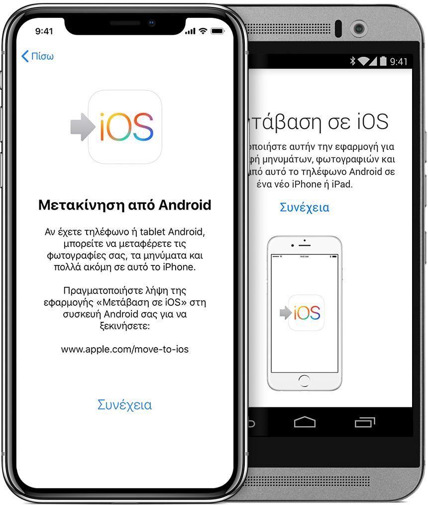 οθόνες που εμφανίζουν την εφαρμογή «Μετάβαση σε iOS» σε iPhone και Android