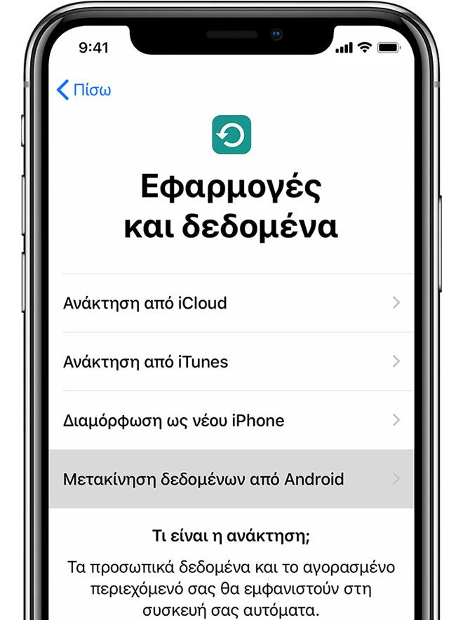 Οθόνη «Εφαρμογές και δεδομένα» στο iPhone
