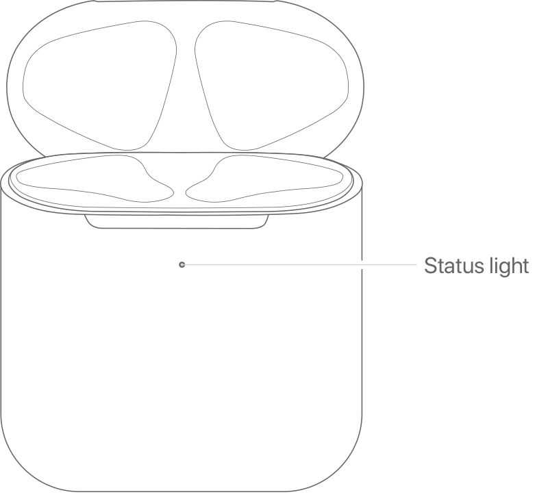 Image of wireless charging case, pointing out status light