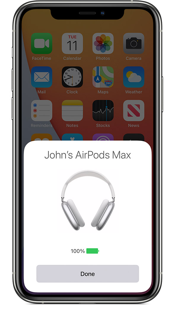 AirPods Max charge status