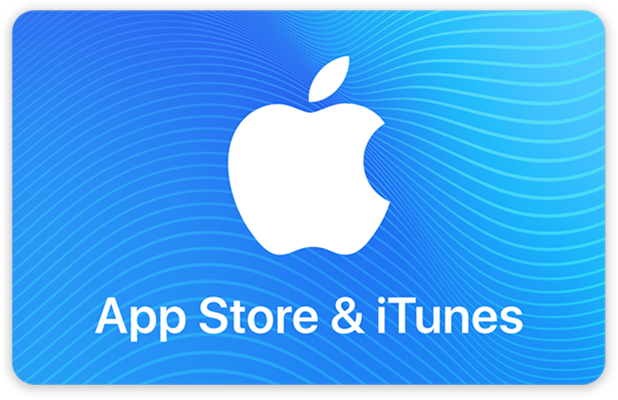 The front of an App Store & iTunes Gift Card. It's blue with a white Apple logo and white text.