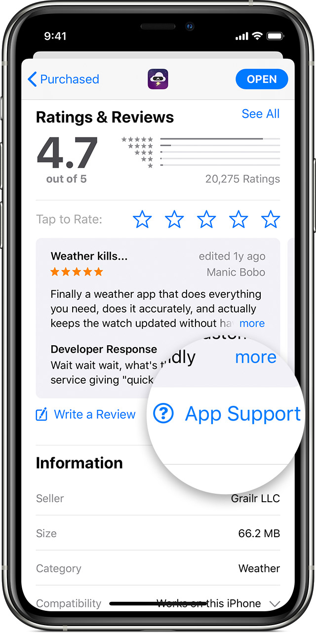 iPhone showing the Ratings & Reviews section of an app's page in the App Store.