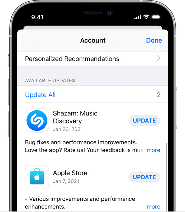 iPhone showing available updates for the Apple Store app and Shazam app.