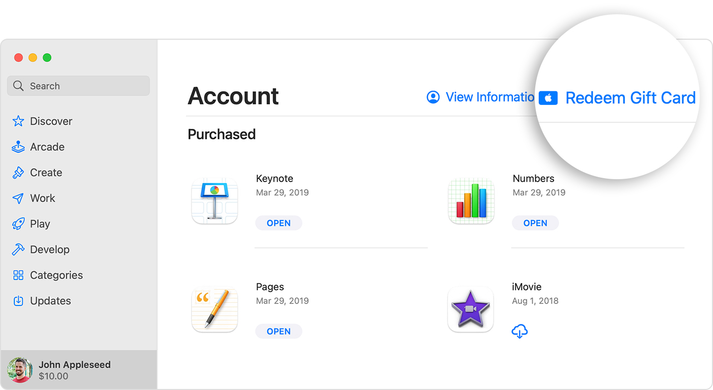 Mac App Store showing the Redeem Gift Card button at the upper right.