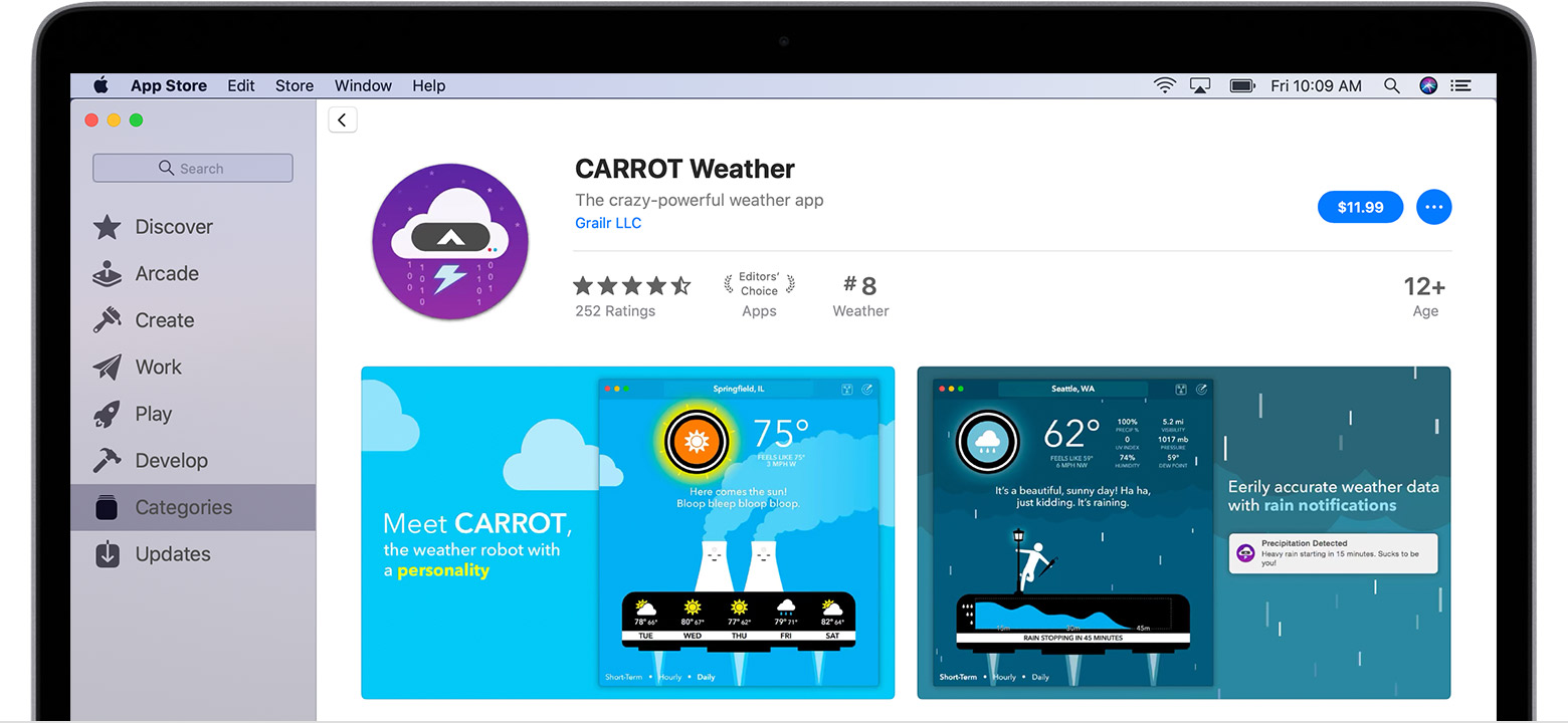Mac computer showing the Carrot Weather app in the App Store.