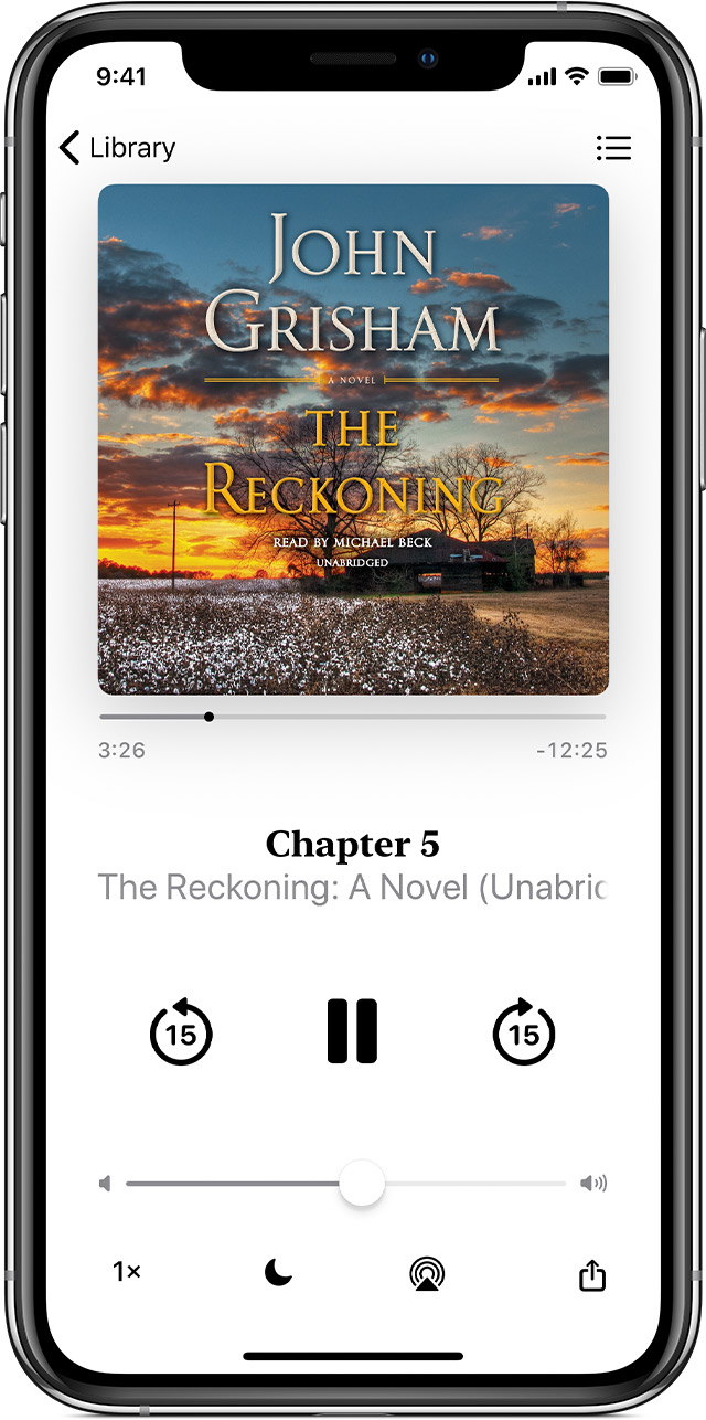 iPhone playing an audiobook by John Grisham. The playback controls are below the image of the book cover.