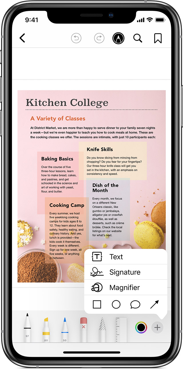 A PDF in the Books app includes information about baking, knife skills, and cooking. You can use the Markup button to draw or write on top of this information.