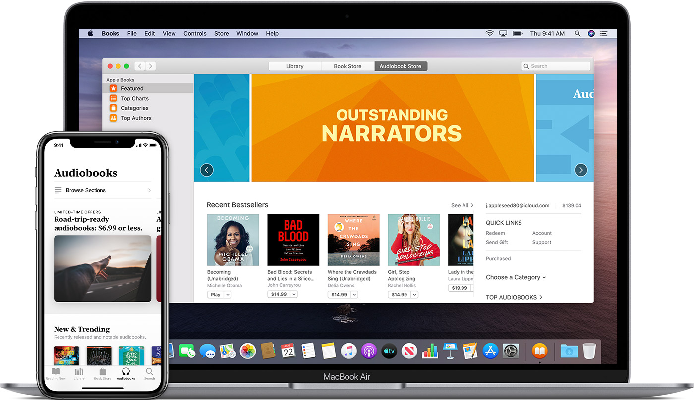 Mac showing featured audiobooks in the Audiobook Store, and iPhone showing the sections of the Audiobook Store, including new and trending audiobooks.