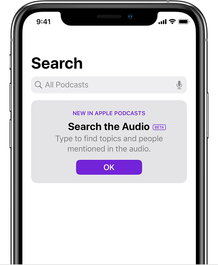 "iPhone showing ""search the audio"" feature on the search tab in the Podcasts app."