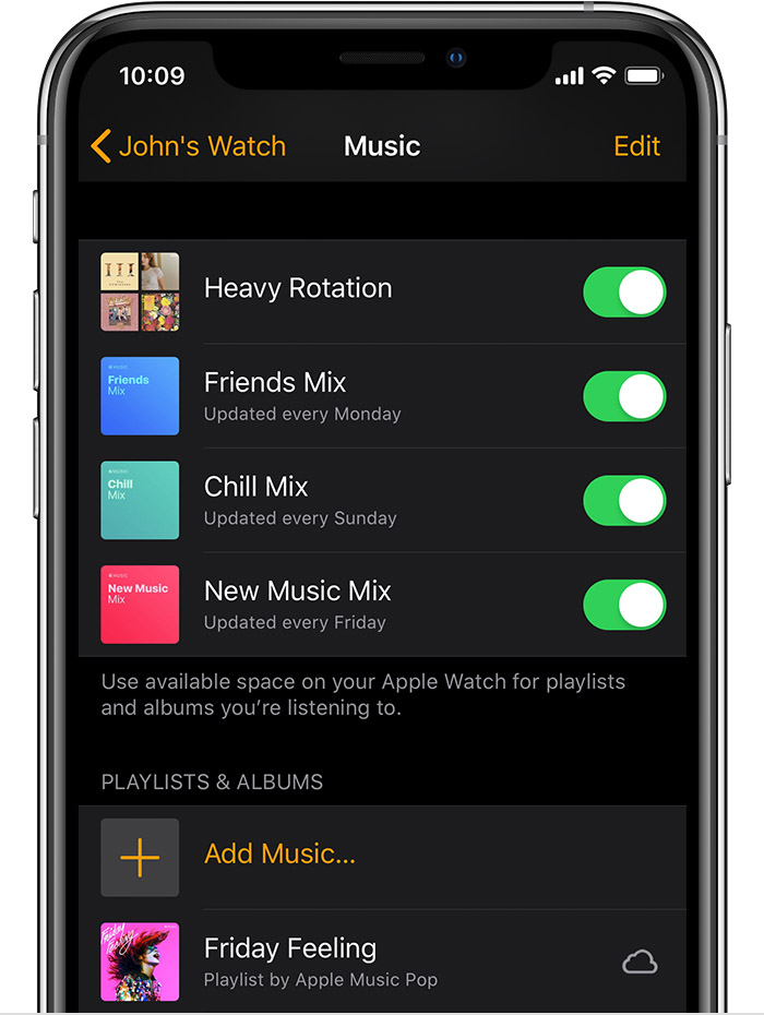 iPhone showing music in the Apple Watch app, including heavy rotation, friends mix, and chill mix.