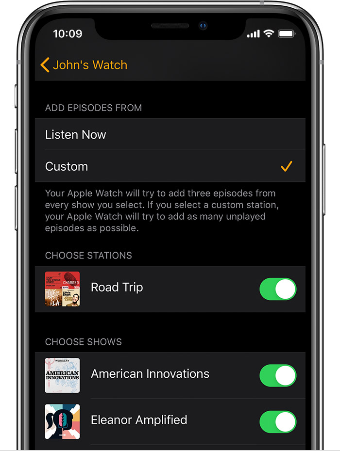 Un iPhone que muestra podcasts en la app Apple Watch.