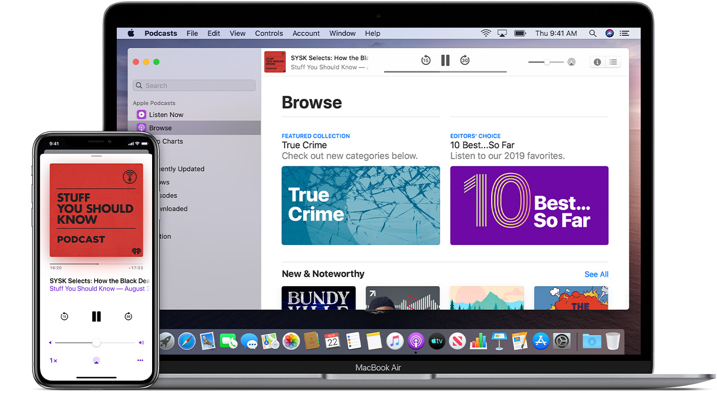 iPhone and Mac showing the Apple Podcasts app, featuring the podcast Stuff You Should Know.