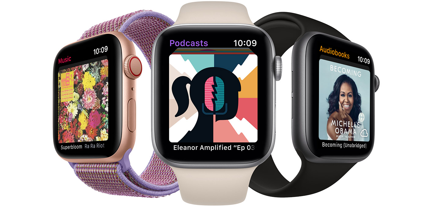 An Apple Watch showing music playing, an Apple Watch showing a podcast playing, and an Apple Watch showing an audiobook playing.