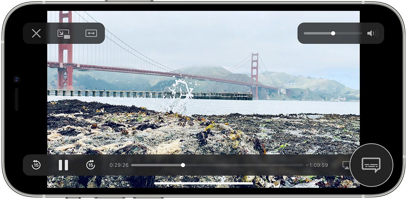 el icono de la burbuja de diálogo en la app AppleTV del iPhone