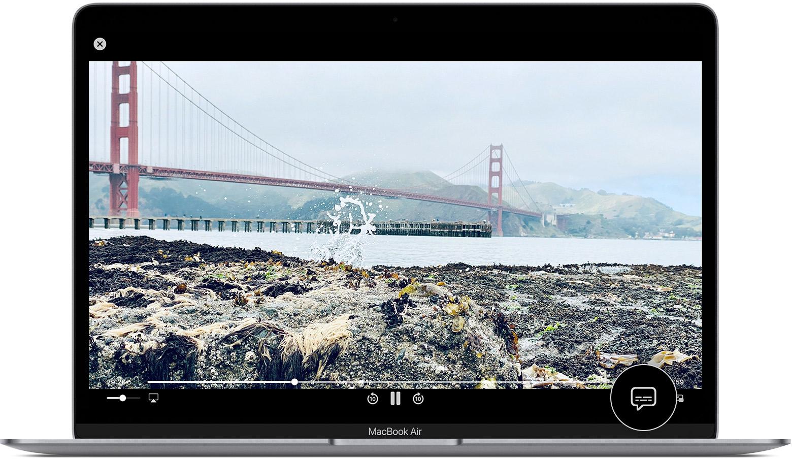 la burbuja de diálogo en la app AppleTV del Mac