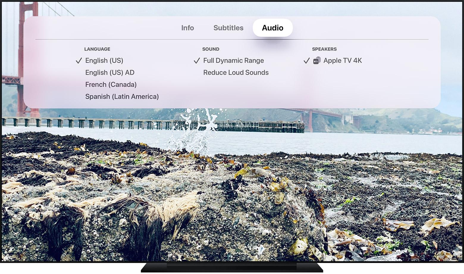 el menú Audio en un televisor inteligente