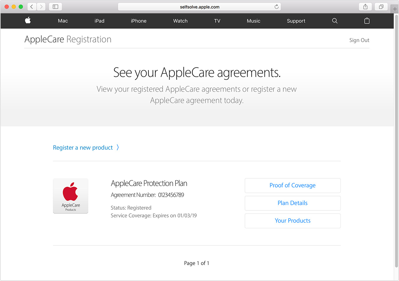 Register your AppleCare plan   Apple Support If you don     t see one of your AppleCare plans  you need to register it  Click  quot Register a new product  quot