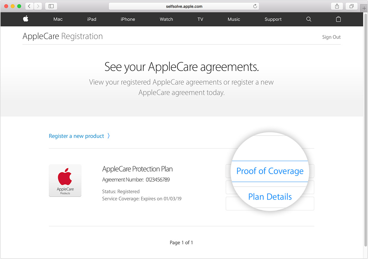 View or print proof of coverage for your AppleCare plan - Apple Support