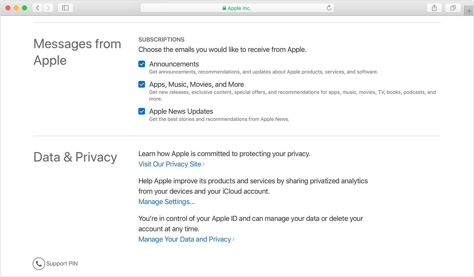 Manage Your Apple ID webpage showing checked checkboxes next to email subscriptions